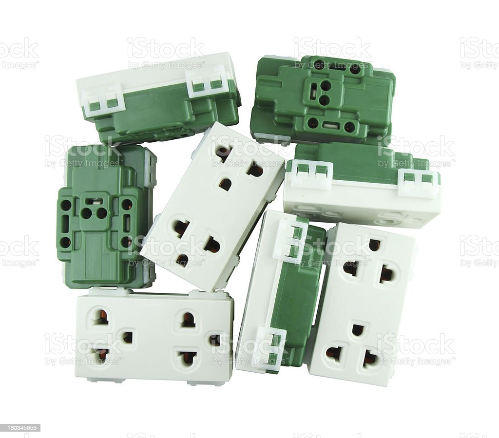 Electrical outlet (socket plug) on white background royalty-free stock photo