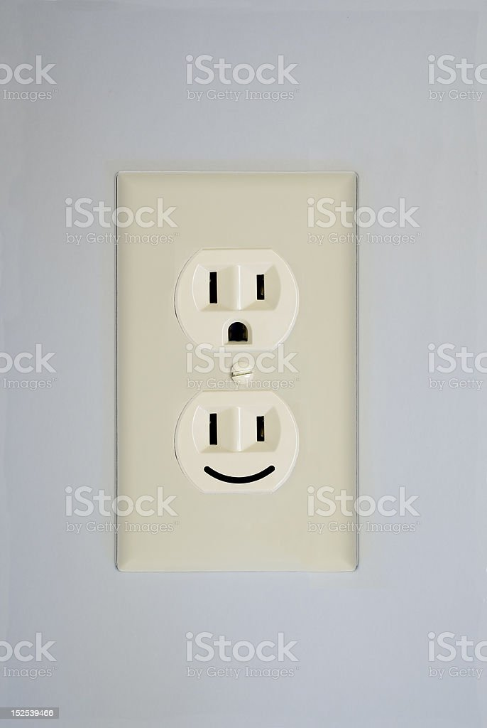 Electrical Outlet Smiley Face royalty-free stock photo