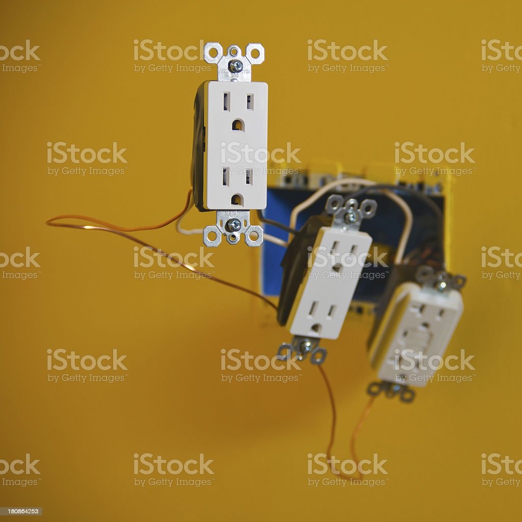 Electrical Outlet Wiring stock photo