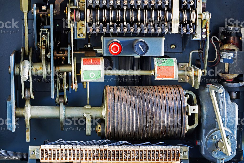 Electrical panel and relay in an old factory stock photo