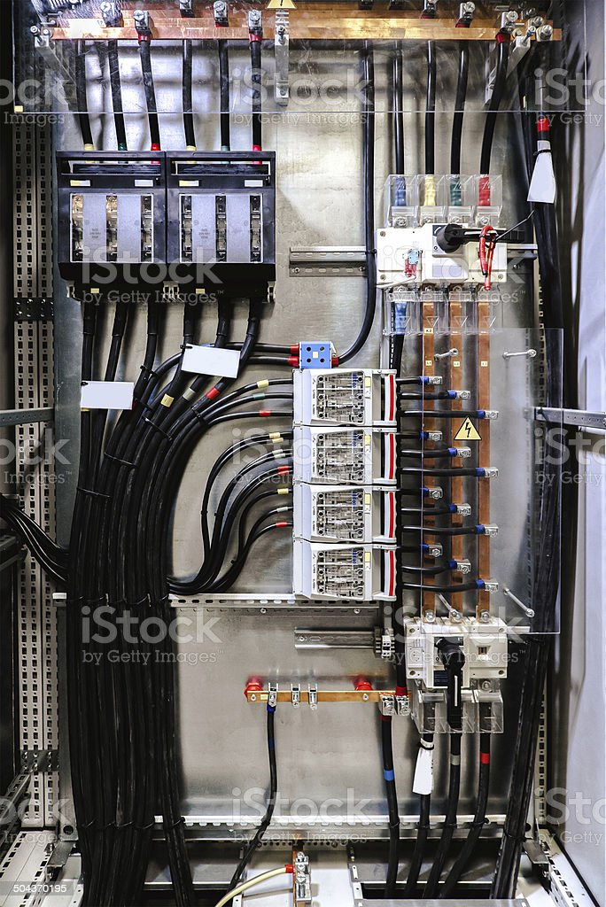 Electrical panel with fuses and contactors stock photo