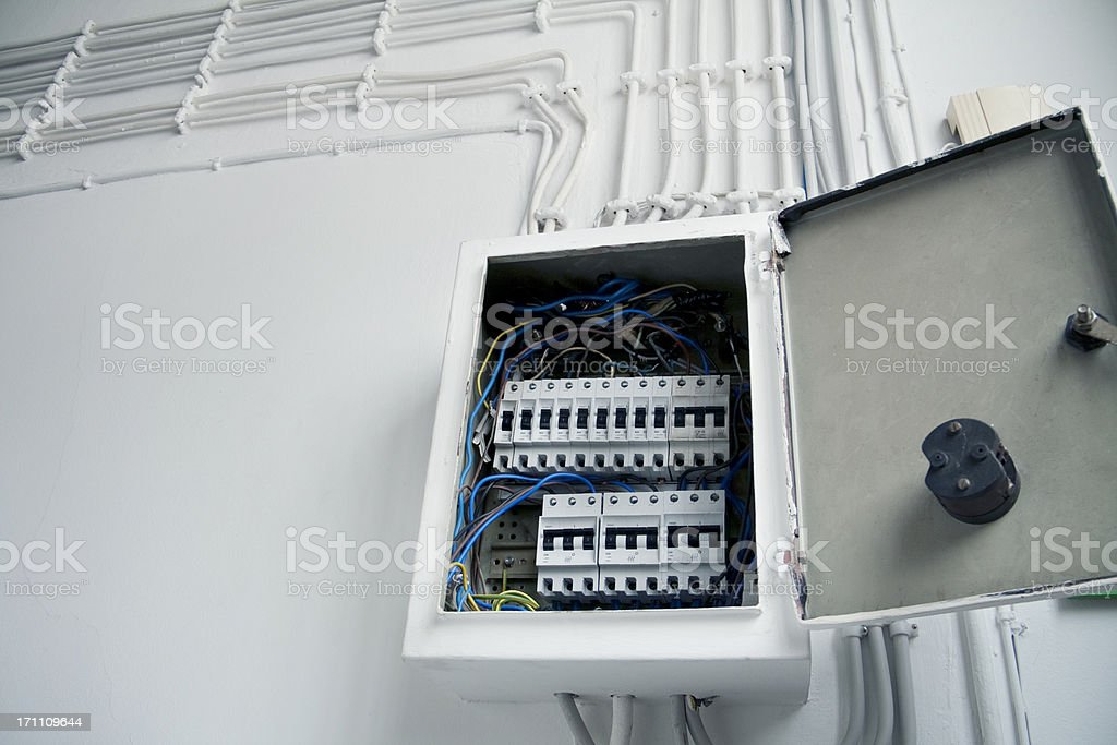 Electrical panelboard stock photo