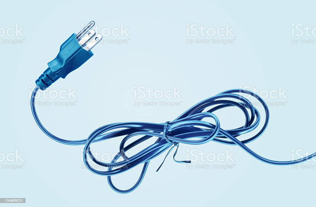 US electrical plug on blue (XXL size) royalty-free stock photo