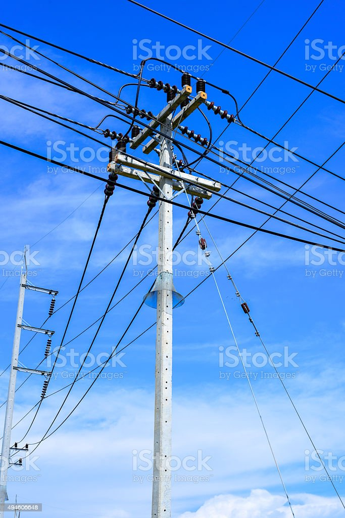 Electrical pole and cable stock photo