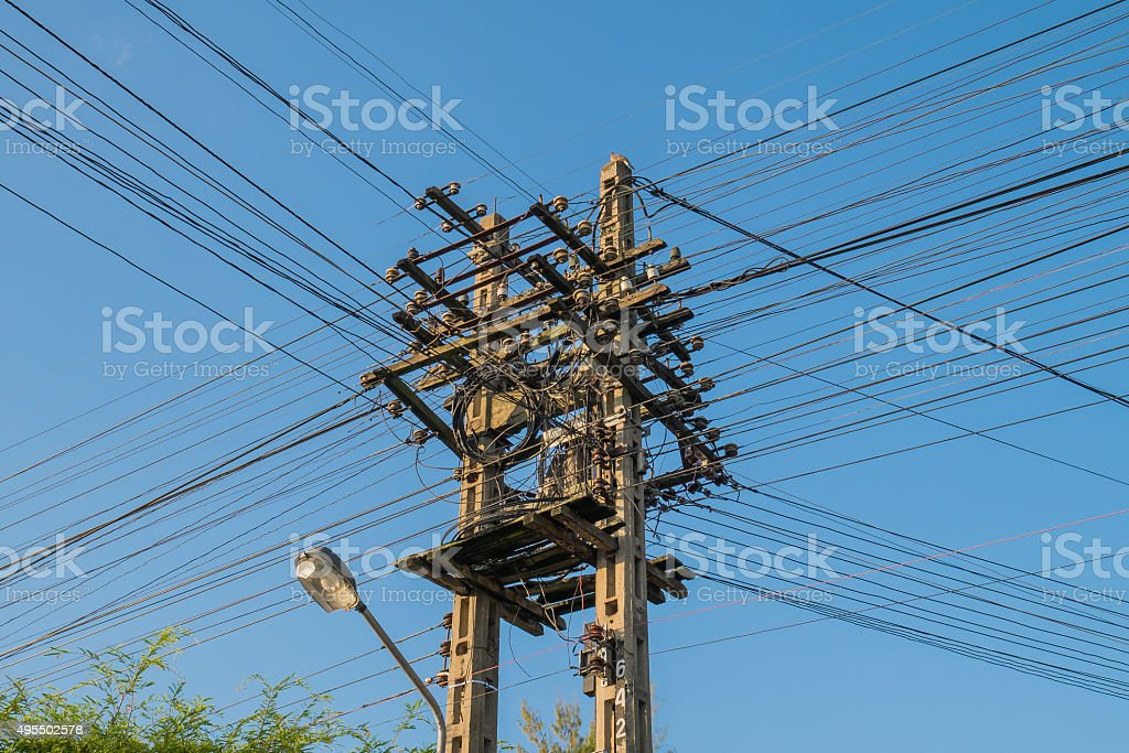 Electrical post stock photo