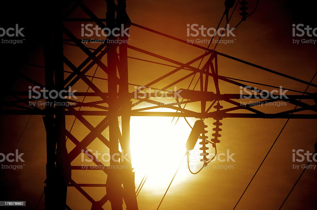 Electrical Power Against the Sun royalty-free stock photo