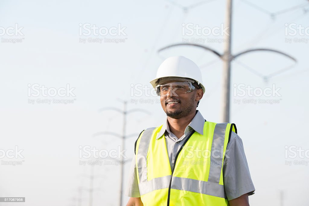 Electrical power engineer. stock photo