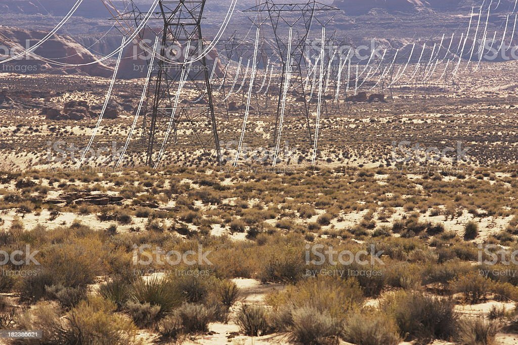 Electrical Power Line Desert Landscape royalty-free stock photo