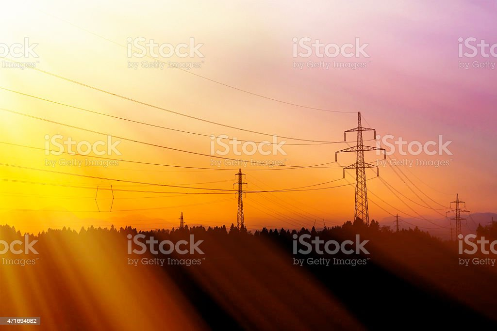 Electrical power lines. Electrical power and energy. Alternative stock photo