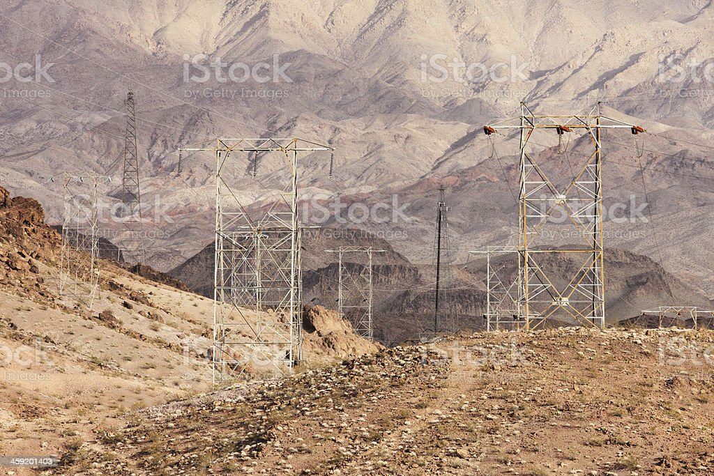 Electrical Power Lines Hoover Dam royalty-free stock photo