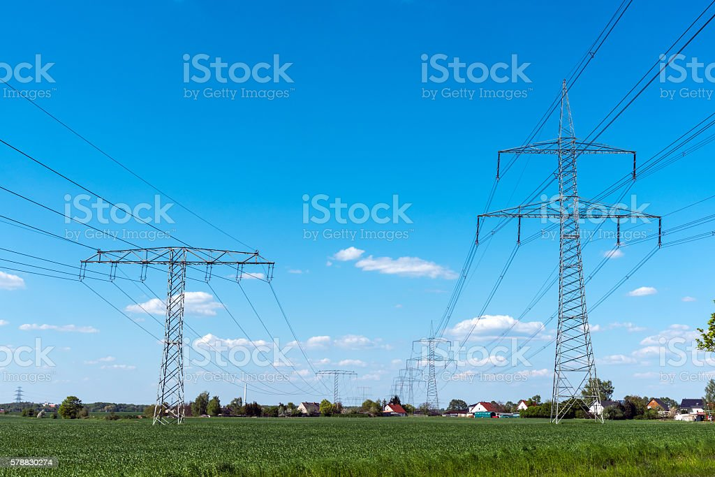 Electrical power lines stock photo