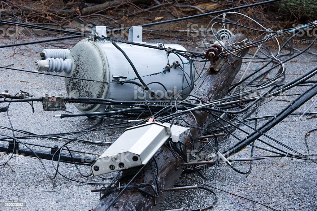 Electrical power outage due to heavy storm stock photo