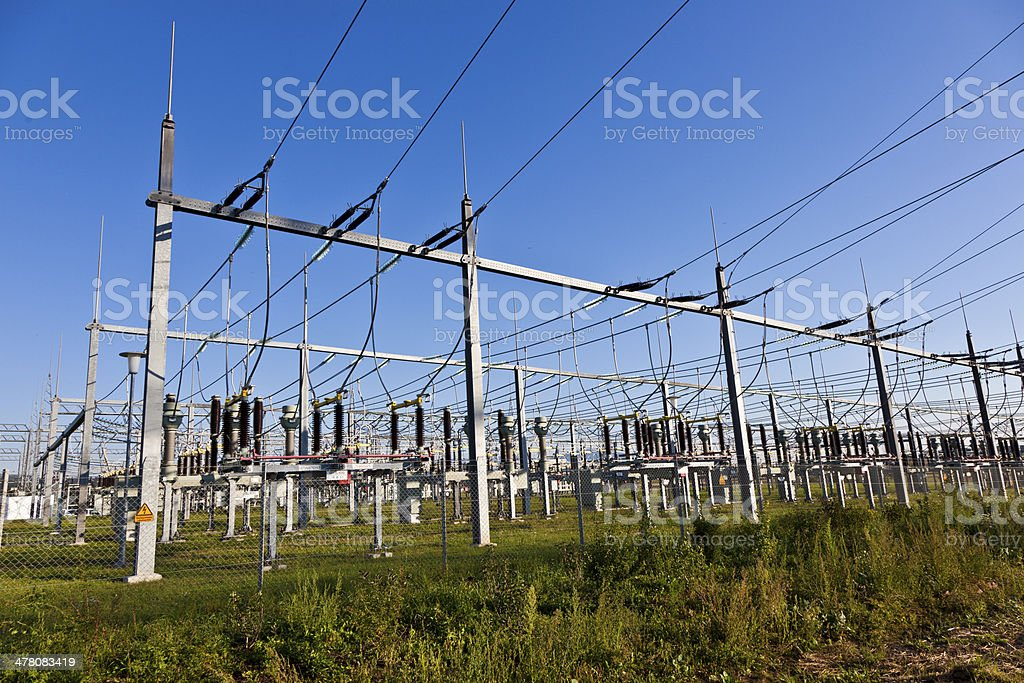 electrical power plant in farmland area royalty-free stock photo