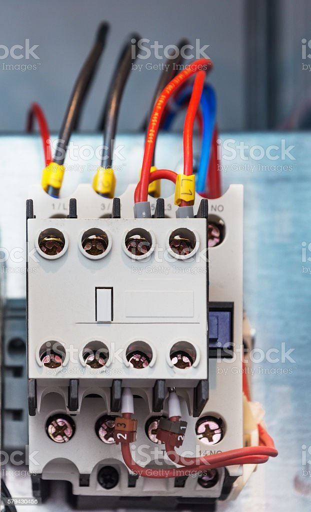 Electrical protection relays stock photo
