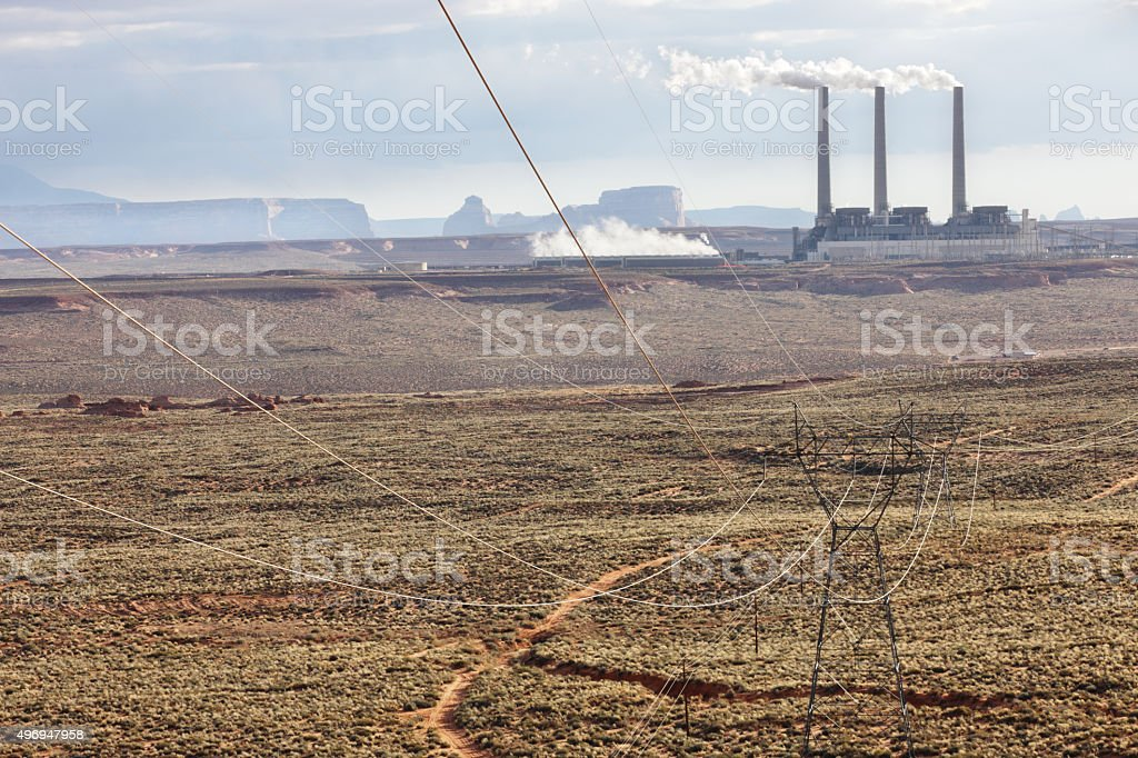 Electrical Pylon Coal-Fired Power Station stock photo