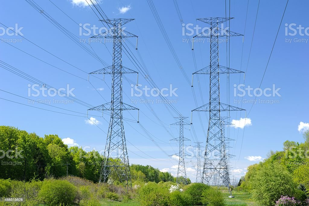 Electrical Pylon Towers stock photo
