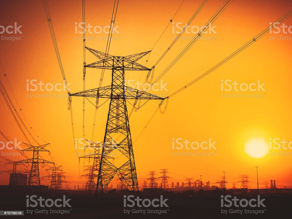 Electrical Pylons and Nature stock photo