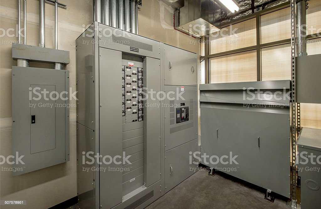 Electrical Room for an Office Building stock photo