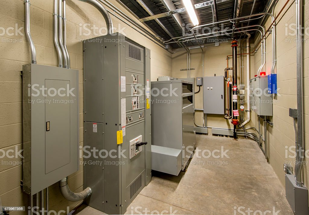 Electrical Room with Circuit Breakers and Transformers stock photo
