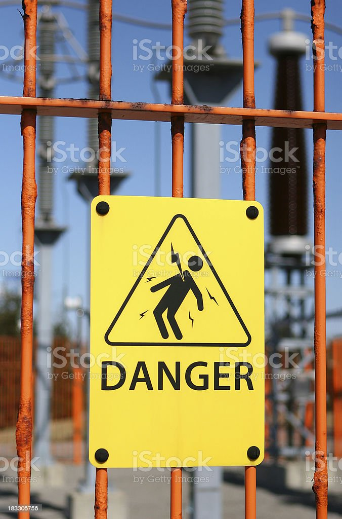 Electrical Shock Warning on fence royalty-free stock photo