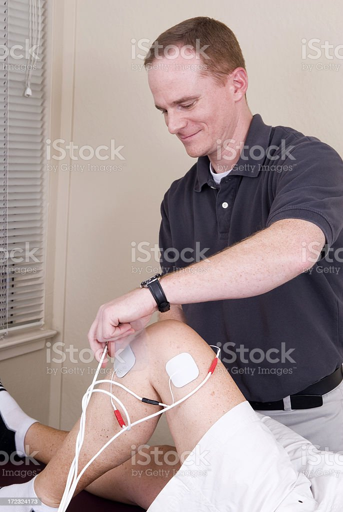 Electrical Stimulation on Knee stock photo