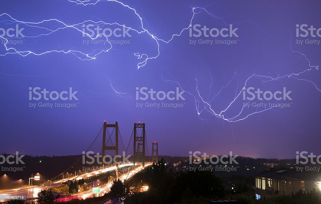 Electrical Storm Lightning Strikes Bolts Tacoma Narrows Bridge W stock photo