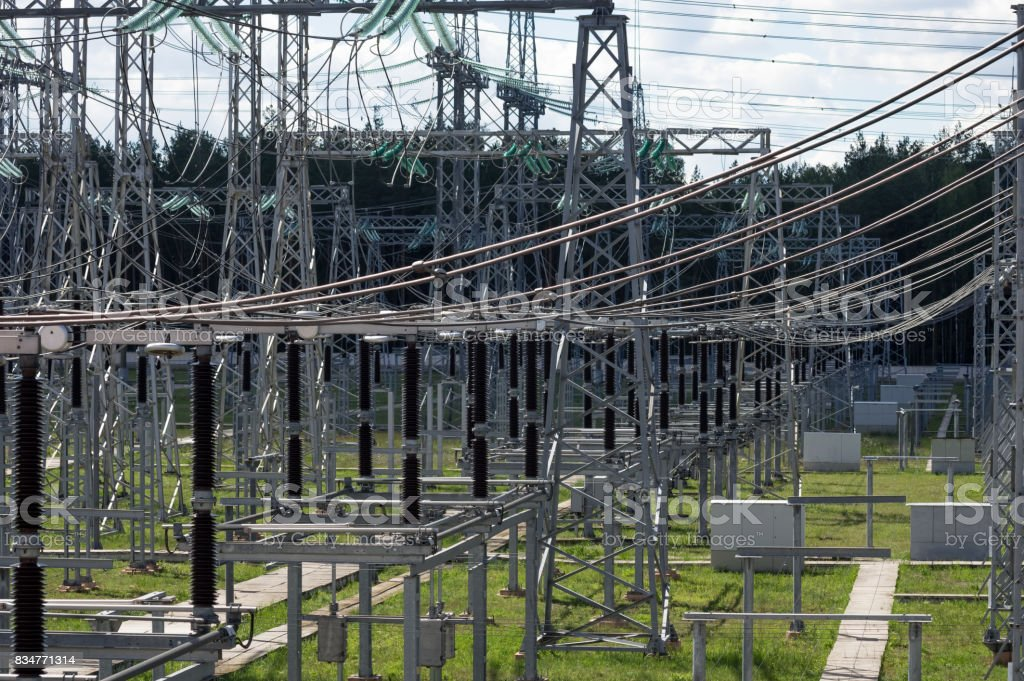 Electrical substation 330 kV, a series of high-voltage disconnectors. stock photo
