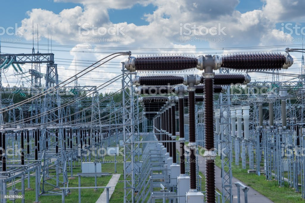 Electrical substation 330 kV, a series of high-voltage switches. stock photo