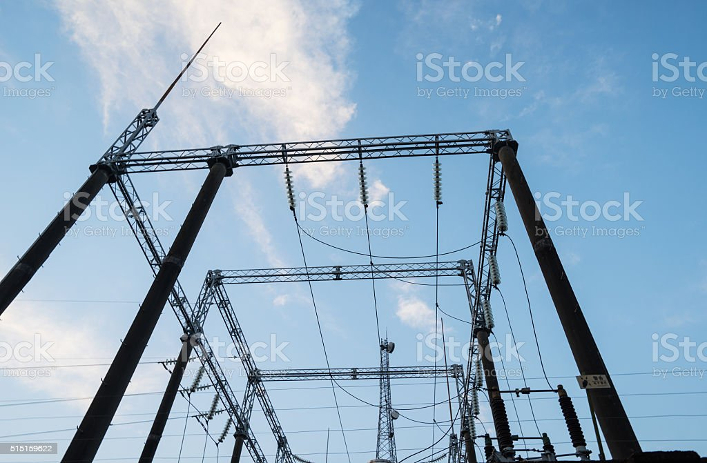 Electrical substation on the sky background stock photo