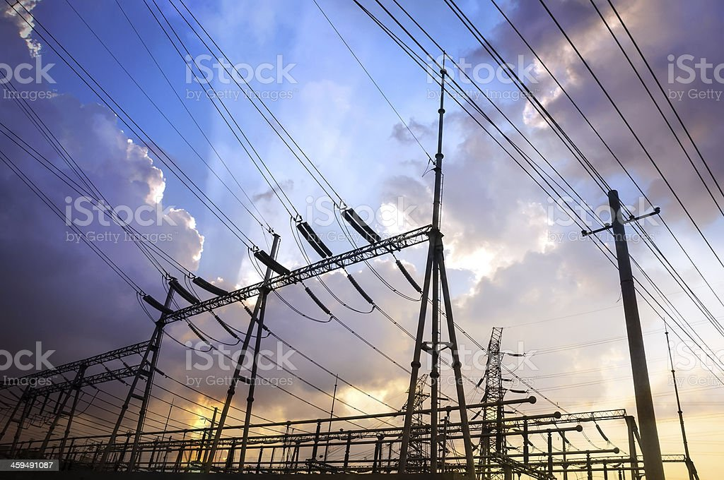 Electrical substation on the sunset background stock photo