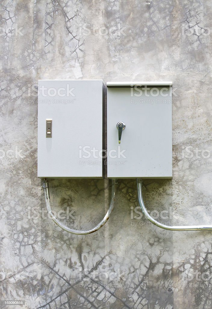 Electrical switch box on the wall stock photo