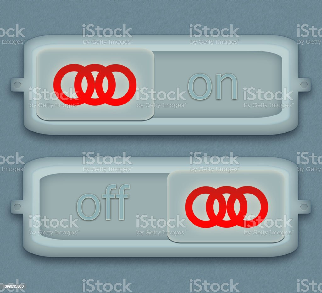 electrical switch. Button on and off energy stock photo