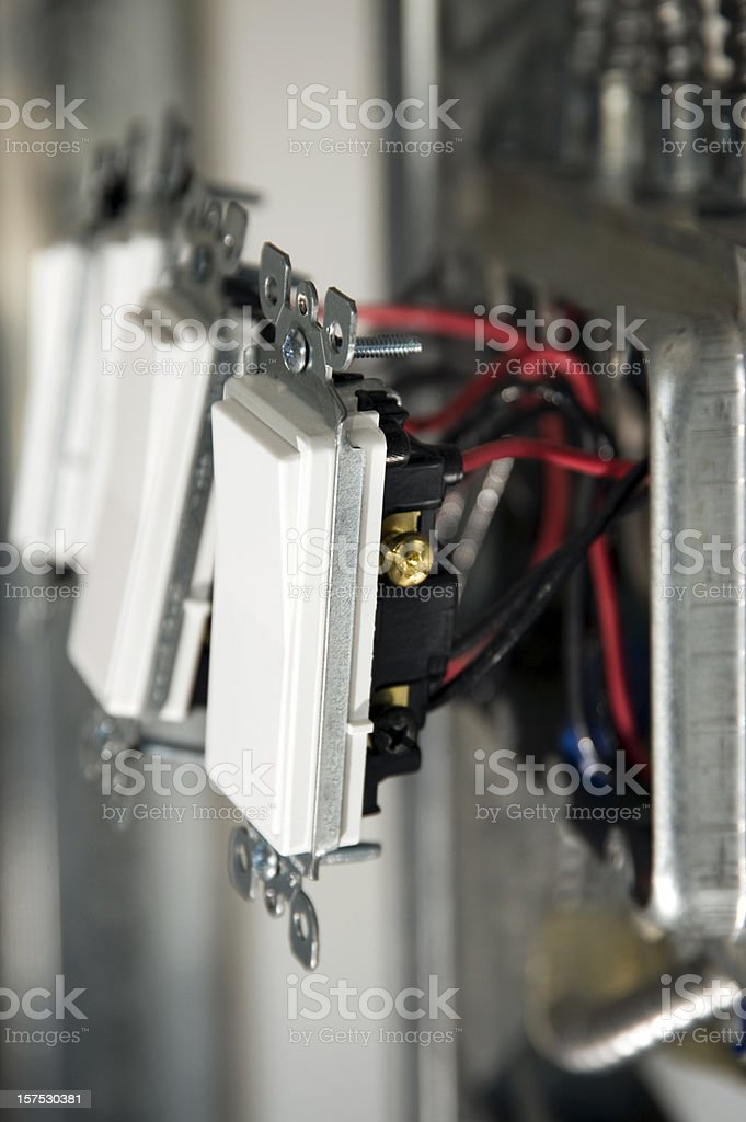 electrical switches and wiring stock photo