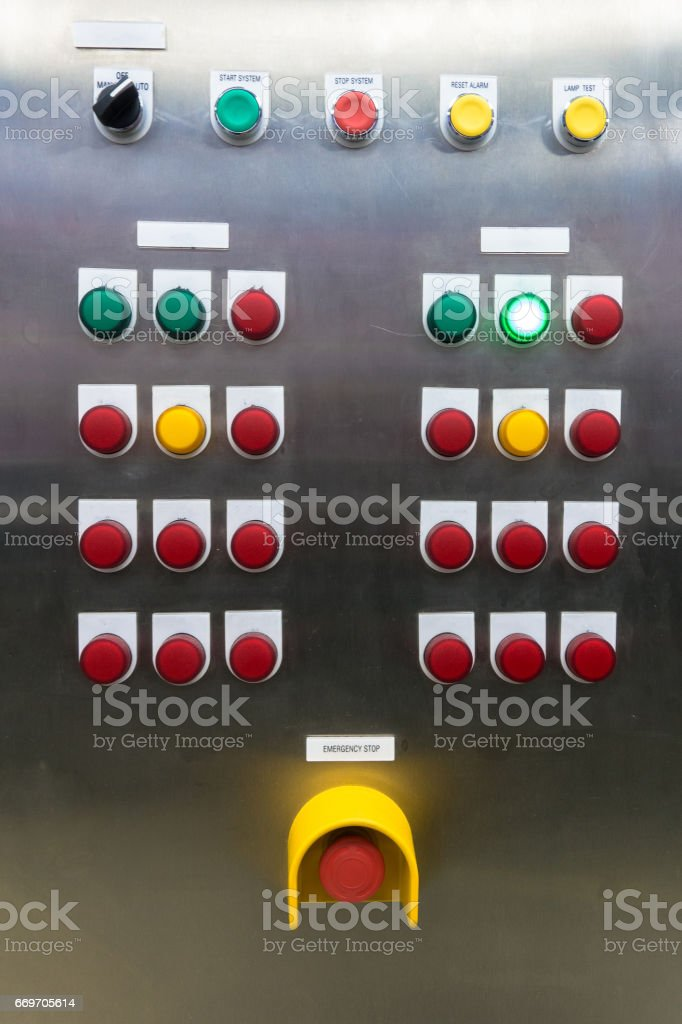 Electrical switchgear panel control, on plant  and process control with vintage tone with analog gauge stock photo
