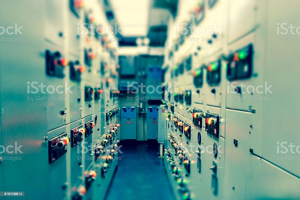 Electrical switchgear room,Industrial electrical switch panel stock photo