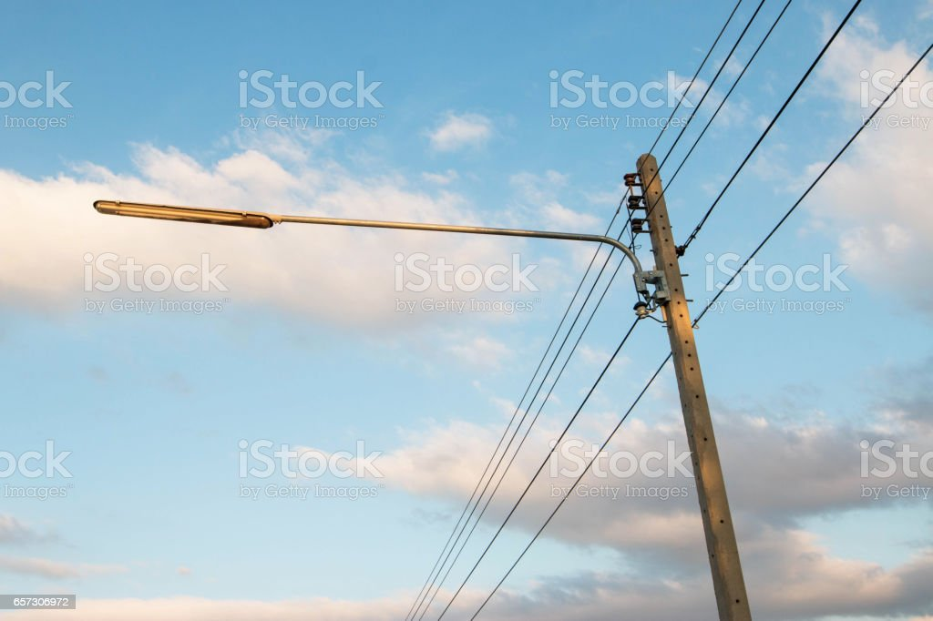 Electrical systems and lighting in rural areas stock photo