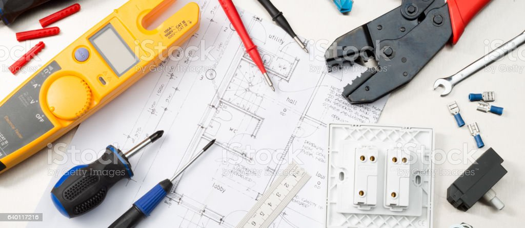 Electrical tool selection stock photo