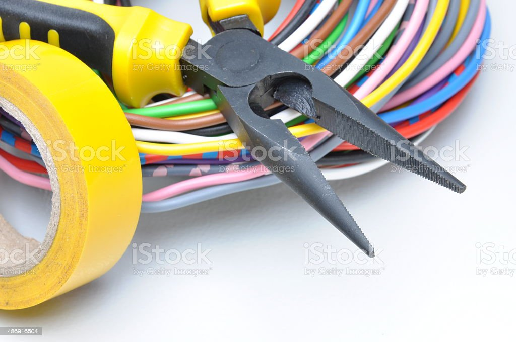 Electrical tools and cables stock photo