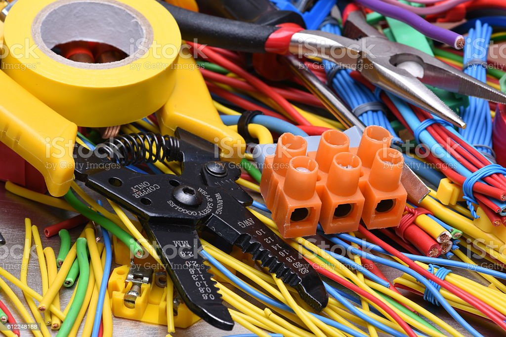 Electrical tools and cables used in electrical installations stock photo