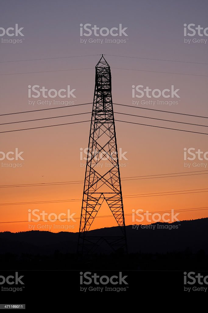 Electrical Tower at Night royalty-free stock photo