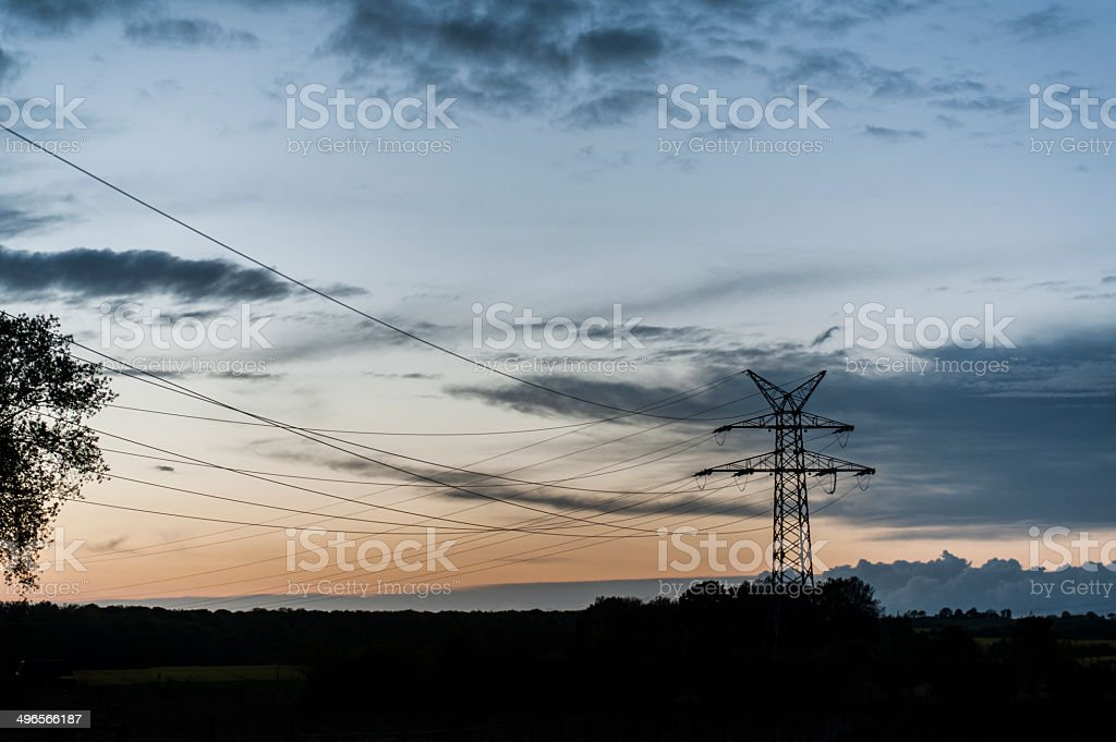 Electrical Tower in Landscape stock photo