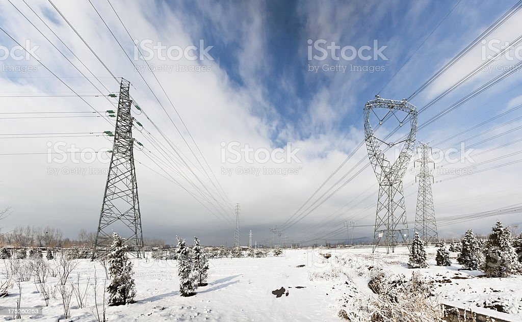 electrical tower structure in the snow royalty-free stock photo