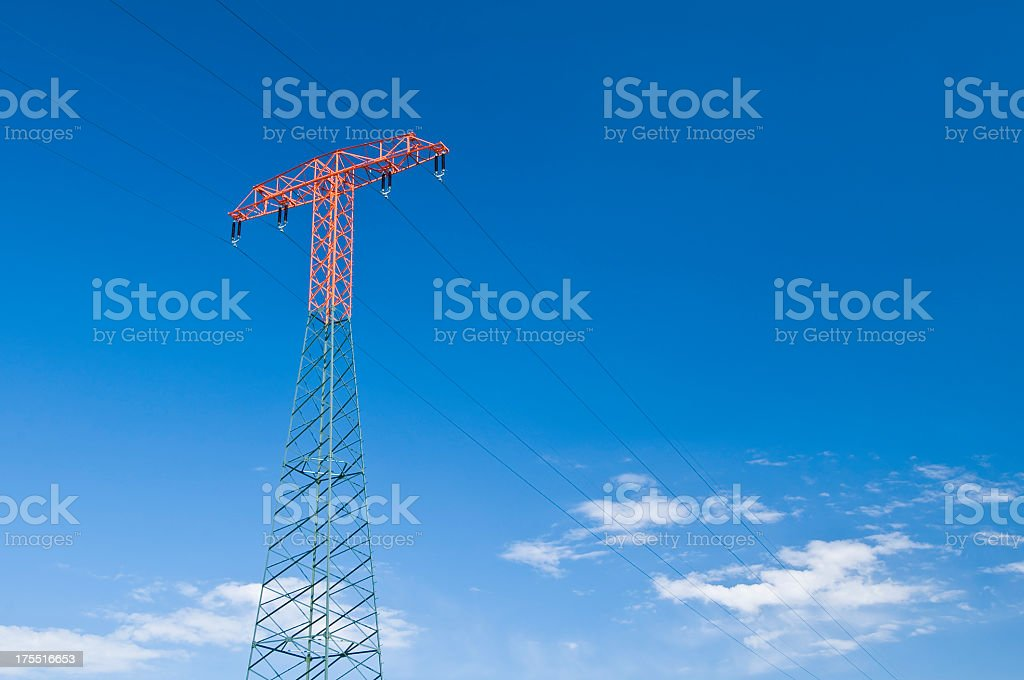 Electrical tower with blue sky and clouds stock photo