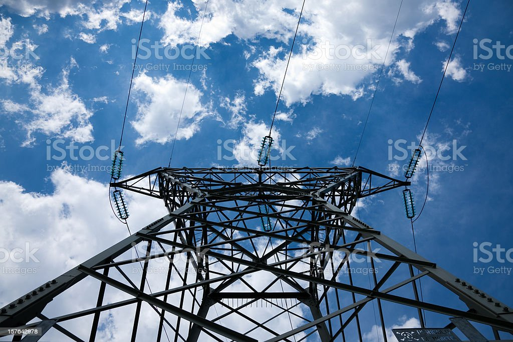 Electrical tower with cloudscape stock photo