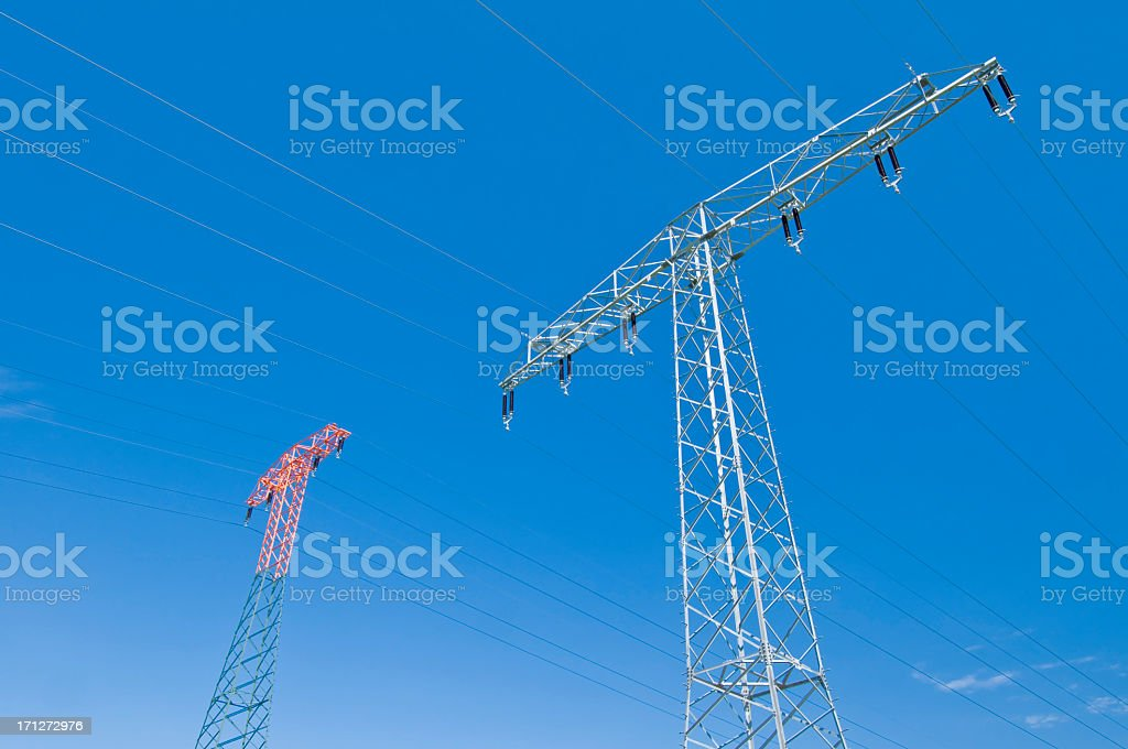 Electrical towers stock photo