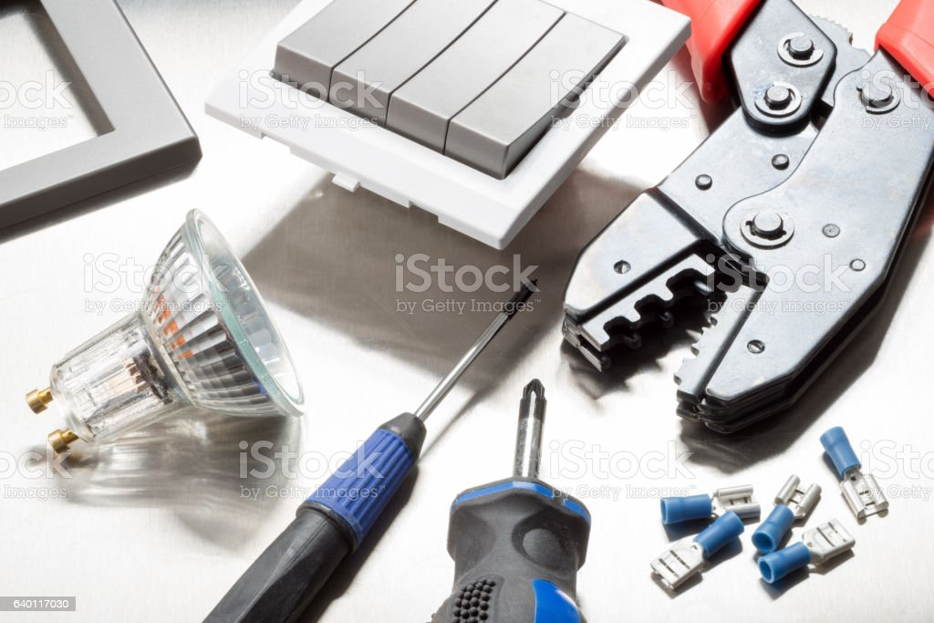 Electrical trademans tools stock photo