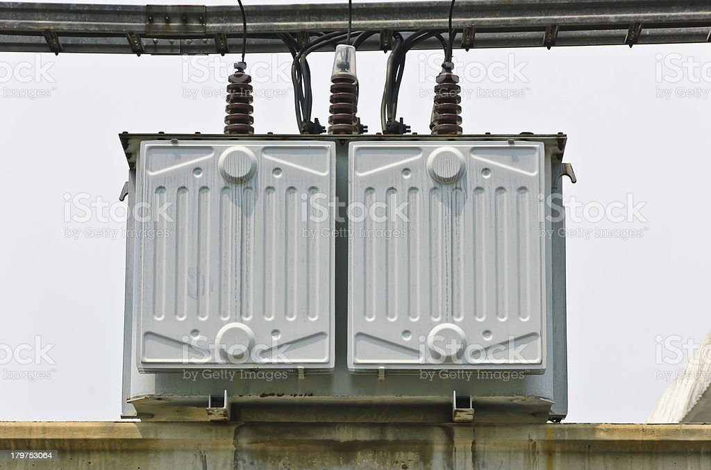 Electrical transformer station royalty-free stock photo