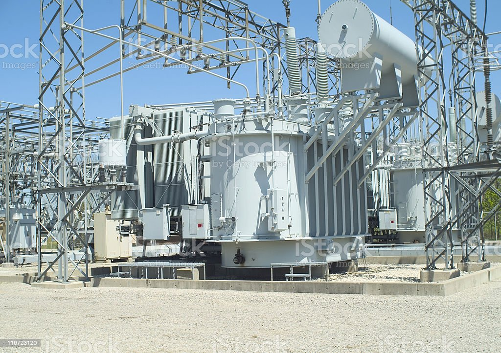 Electrical transformer sub-station stock photo