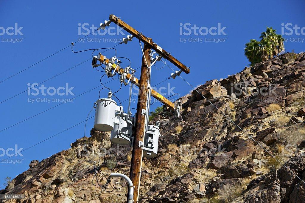Electrical transmission line utility pole, San Jacinto Mountains, California stock photo