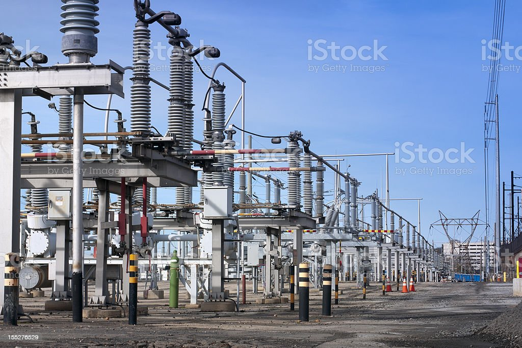 Electrical transmission substation stock photo